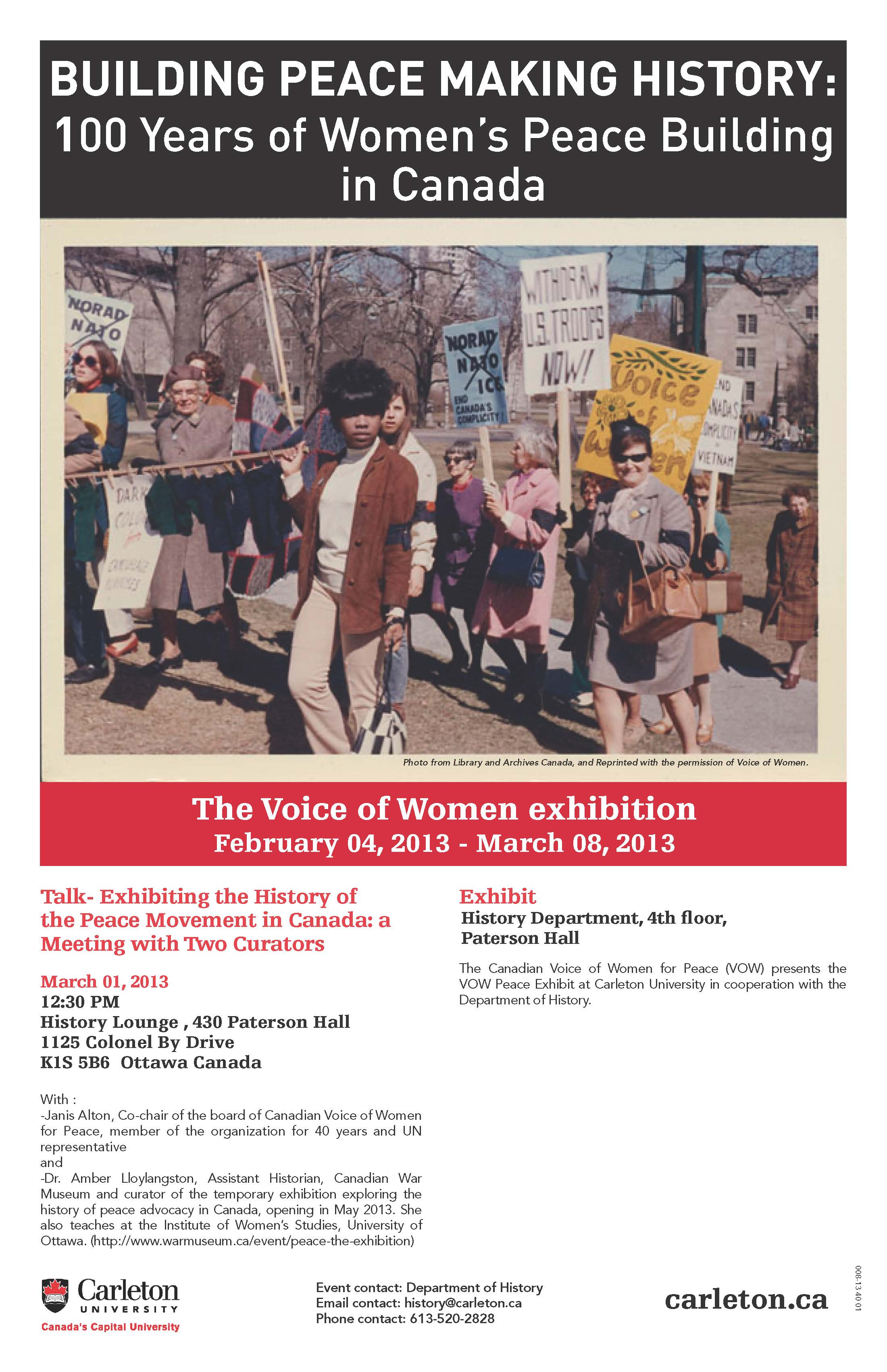 Poster of the exhibition and panel on the history of 60 years old pacifist group, Voice of Women.