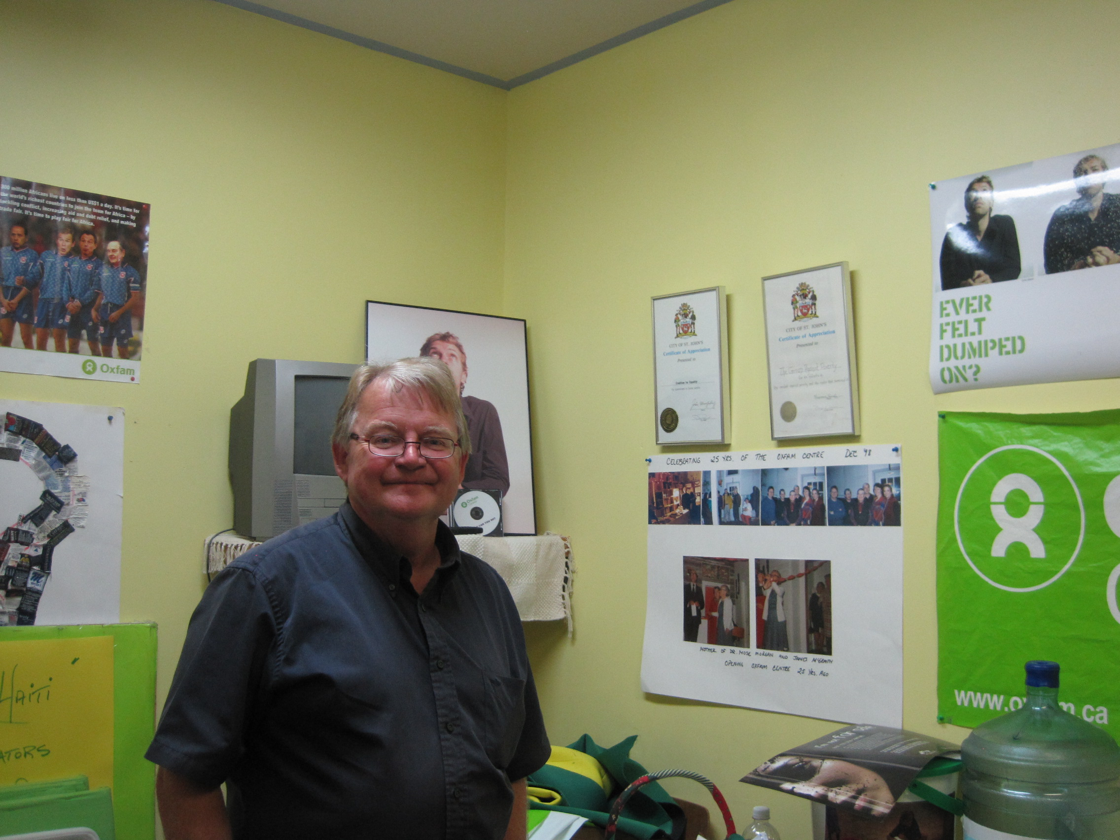 Bill Hynd in the offices of Oxfam St John's , 5 August 2013 when we visited.